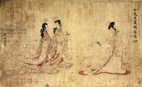 """Chinese Art: The Instructor and the Two Young Girls (345-406) Drawing of U KAIZHI or KOU K """"AI-TCHE (344-406). Period Han."""