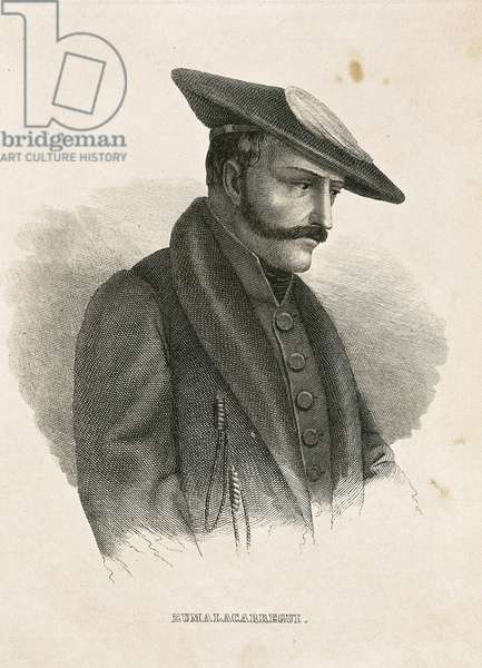 Portrait of Tomas ZUMALACARREGUI (1788-1835), character from the Spanish Campaign or War of Independence and First Carlist War (engraving)