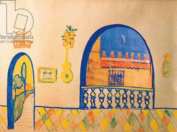 Dessin de Federico Garcia Lorca (1898-1936) pour le decor du theatre guignol, 1923. Madrid. Federico Garcia Lorca Foundation.