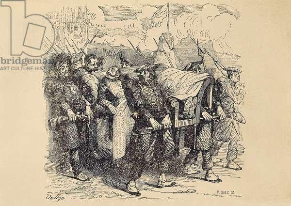 First Carlist War (1833-1840): Carlist General Tomas Zumalacarregui (1788-1835) wounds during the Siege of Bilbao, 19th  (lithograph