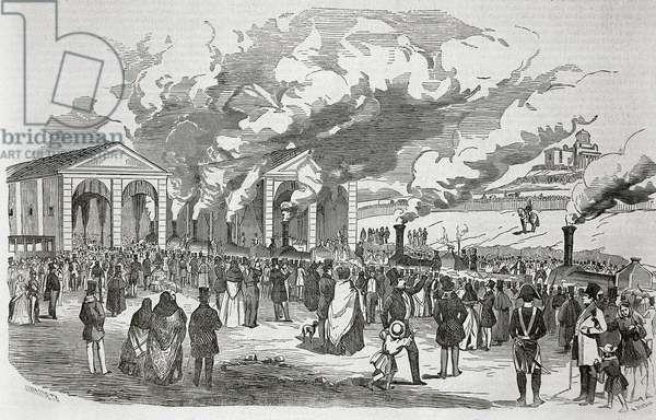"Opening of the Madrid-Aranjuez railway line, February 9, 1851. Engraving in """" La Ilustracion. Periodico Universal """"."