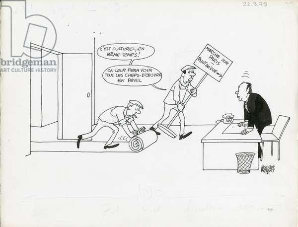 Le Figaro, Satirique en N & B, 1979_3_22: Social - Barre Raymond - Illustration by Jacques Faizant (1918-2006)