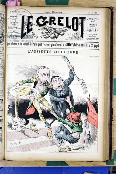 "Cover of """" Le Grelot"""", number 1011, Satirique en N & B, 1890_8_24: """" L'Assiette au beurre"""""" - Anticlericalism, Belgium, Suffrage universel - Cupidite/Avarice, Eg et Belgique, Eg combative - Leopold II, Cures - Illustration by Edouard Guillaumin (Pepin) (1842-1910)"