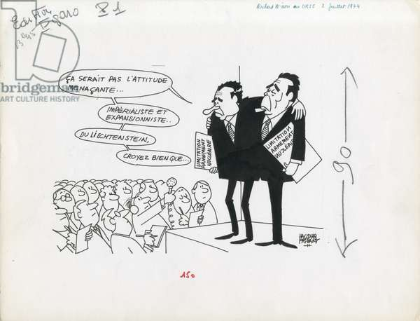 Le Figaro, Satirique en N & B, 1974_7_2: USSR - Brezhnev, Nixon Richard - Illustration by Jacques Faizant (1918-2006)