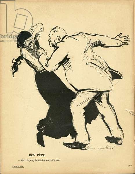 L'Plate au beurre, number 236, Satirique en couleurs, 1905_10_6: Couple, Domestic violence - Illustration by Hermann-Paul (1864-1940)