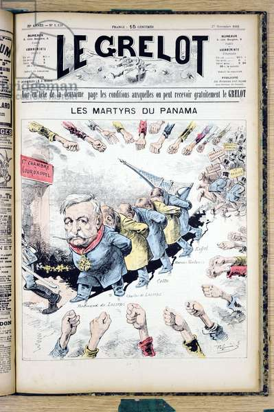 """Cover of """""""" The Grelot"""""""", Satirique en Colours, 1892_11_27: The Martyrs of Panama - Panama Affair, Eiffel Tower - Gustave Eiffel, De Lesseps Ferdinand - Illustration by Edouard Guillaumin (Pepin) (1842-1910)"""