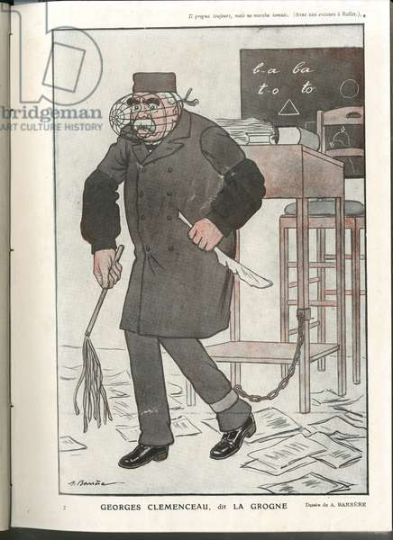 "Illustration of A Barrere (1874-1931) in ""Fantasio"""", 01/05/16 - Georges Clemenceau, dit La Grogne - War of 14 -18, Censorship - Clemenceau George"