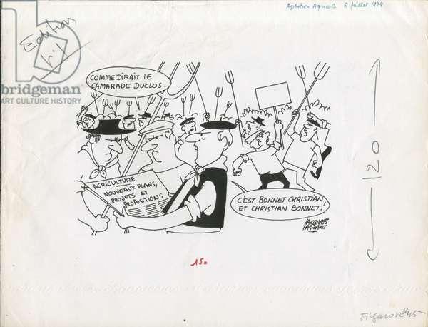 Le Figaro, Satirique en N & B, 1974_7_6: Agriculture - Bonnet Christian - Illustration by Jacques Faizant (1918-2006)