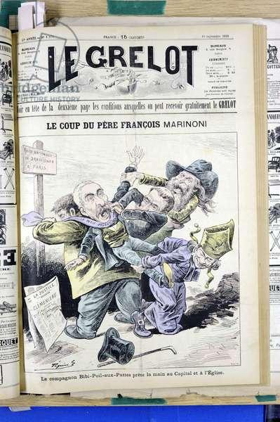 """Cover of """""""" Le Grelot"""""""", number 1170, Satirique en Couleurs, 1893_9_10: Le Coup du pere Francois Marinoni - Anticlericalism - Eg avec reactionaries, Eg combative, Coup du pere Francois - Hippolyte Auguste Marinoni (1823-1904) - Clemenceau George, Patron/Bourgeois, Eveques - Illustration by Eveques - Illustration by Edouard Guillaumin (Pepin) (1842-1910)"""