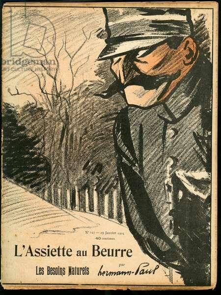 L'Plate au beurre, number 147, Satirique en couleurs, 1904_1_23: Font, Urinate - Policeman - Illustration by Hermann-Paul (1864-1940)