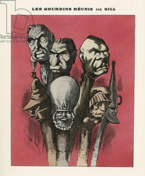 Illustration of Louis Alexandre Gosset de Guines dit Gill (1840-1885) for the Cover of L'Eclipse, 1870-2-20 - Les gourdins reunited - Censorship, Press/Media, Droites politiques - Villemessant de Hippolyte (1810-1879), Veuillot Eugene (1818-1905)