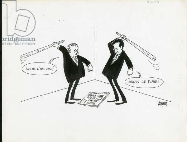 Le Figaro, Satirique en N & B, 1979_2_8: Social, CGT - Seguy Georges, Maire Edmond - Illustration by Jacques Faizant (1918-2006)