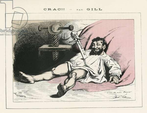 Illustration of Louis Alexandre Gosset de Guines dit Gill (1840-1885) in La Lune rousse, 1877-2-18 - Crac! - Censorship, Press/Media, Dead corpses - Daumier, Bonapartist Bonapartism - Graphic parody