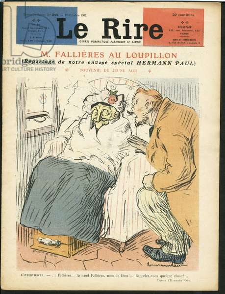 Illustration of Hermann-Paul (1864-1940) for the Cover of Le Rire, 12/10/07 - Mr Fallieres at the Loupillon - Press/Media, President of the Republic, Third age - Fallieres Armand (1841-1931), Journalist