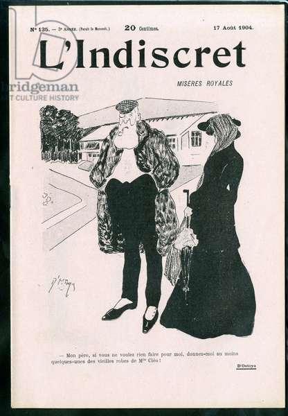 "Cover of """" L'Indiscret"""", number 1, Satirique en N & B, 1904_8_17: Belgium - Leopold II Illustration by Georges d'Ostoya-Sochinsky (D'Ostoya) (1878-1937)"