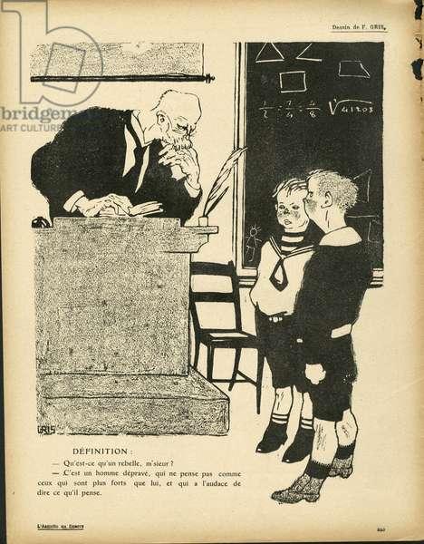 L'Plate au beurre, number 386, Satirique en N & B, 1908_8_22: Teaching - Teacher, Student - Illustration by J Gris (1887-1927)