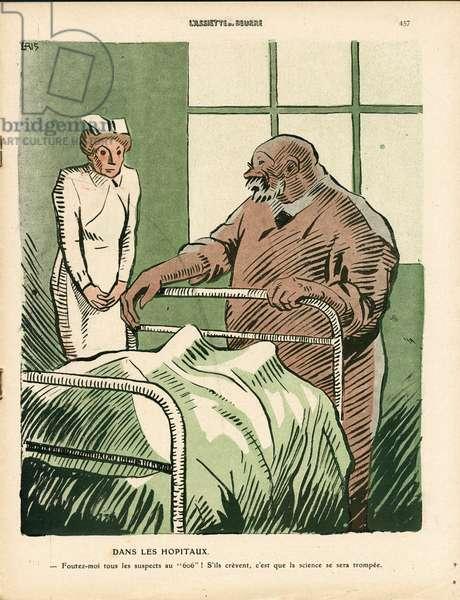 L'Plate au beurre, number 497, Satirique en couleurs, 1910_10_8: Medical - Medicine, Nurse - Illustration by J Gris (1887-1927)