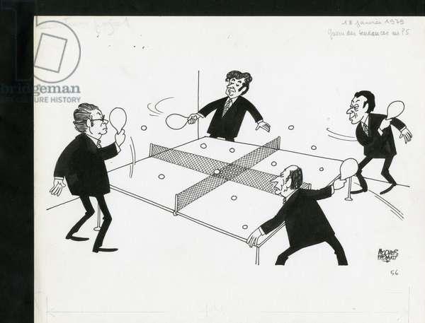 Le Figaro, Satirique en N & B, 1979_1_18: French Socialist Party, President of the Republic - Mitterrand Francois, Rocard Michel, Mauroy Pierre, Chevenement Jean-Pierre - Illustration by Jacques Faizant (1918-2006)