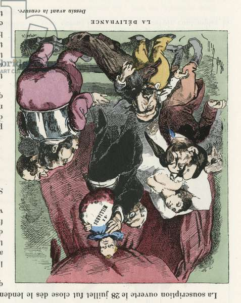 Illustration of Louis Alexandre Gosset de Guines dit Gill (1840-1885) for the Cover of L'Eclipse, 1872-8-4 - La delivrance - Censorship, Childhood, President of the Republic, Second Empire, Borrowing, Maternity, Political Right - Thiers Adolphe, Napoleon III - Maternity