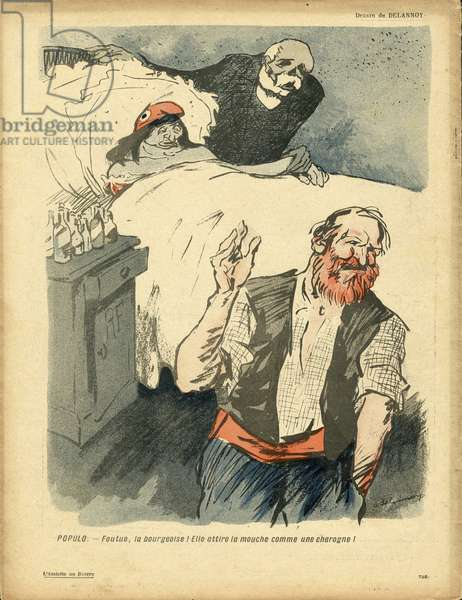 L'Plate au beurre, number 359, Satirique en couleurs, 1908_2_15: Clemenceau George, Marianne, Worker Worker, Flies - Illustration by Aristide Delannoy (1874-1911)