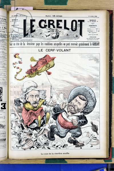 "Cover of """" The Grelot"""", Satirique en Couleurs, 1893_7_23: The kite - The wind of reaction blows - President of the Republic, Kite - Clemenceau George, Carnot Sadi (1837-1894), Dupuy Charles (1851-1923) - Illustration by Edouard Guillaumin (Pepin) (1842-1910)"