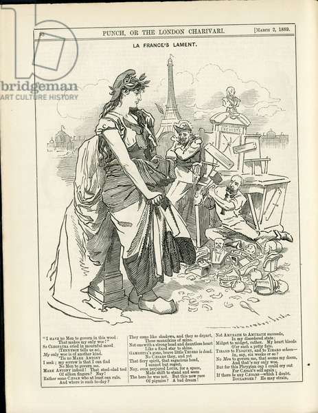 Illustration of Sambourne (1844-1910) in Punch, 1889-3-2 - President of the Republic, Eiffel Tower, English language, Foreign press - Boulanger Georges (1837-1891), Marianne, Carnot Sadi (1837-1894)