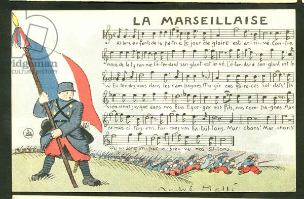 Postcard, Satirical in Colors: La Marseillaise - War of 14 -18, Marseillaise, Singing Illustration by Andre Helle (1875-1945)