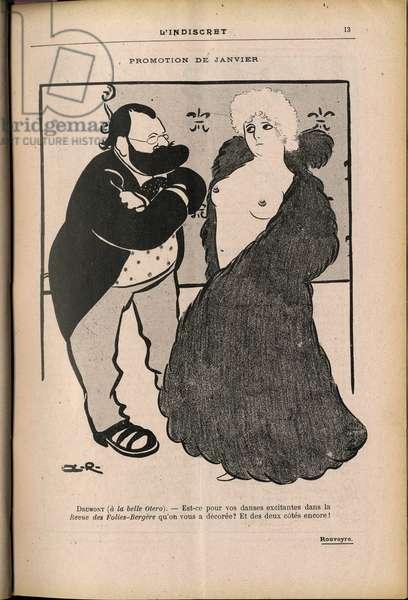 L'Indiscret, Satirique en N & B, 1903_1_14: Drumont Edouard (1844-1917) a la belle Otero (Caroline Otero, 1868-1965)