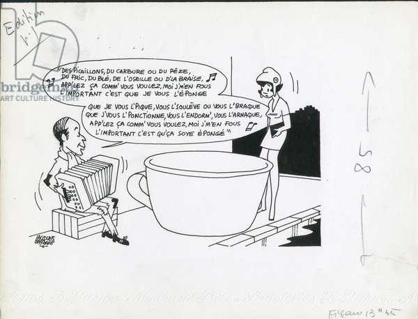 Le Figaro, Satirique en N & B, 1973_12_7: Budget Finances, President of the Republic - Marianne, Giscard d'Estaing Valery - Illustration by Jacques Faizant (1918-2006)