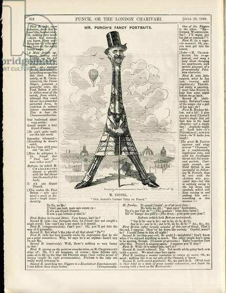 Illustration of Sambourne (1844-1910) in Punch, 1889-6-29 - Eiffel Tower, English language, Foreign press - Eiffel