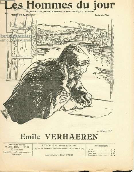 "Cover of """" Les Hommes du jour"""", Satirique en N & B, 1909_8_14: Litterature, Marine Marine Marine Balneaire - Verhaeren Emile (1855-1916) - Illustration by Aristide Delannoy (1874-1911)"