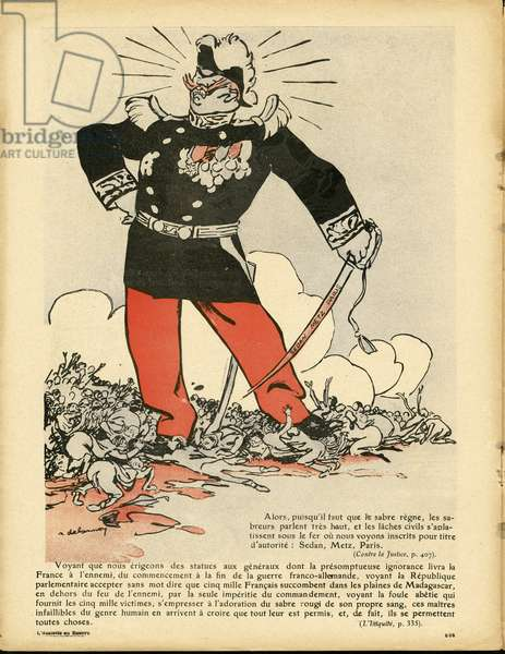 The Butter Plate, number 401, Satirical in Colours, 1908_12_5: Antimilitarism, War, Repression, Sedan - Clemenceau George, General Generaux - Illustration by Aristide Delannoy (1874-1911)