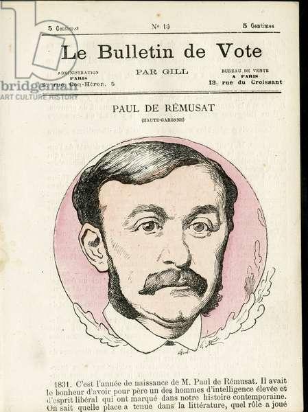 """Cover of """""""" Le Bulletin de Vote """""""", Satirique en Colours, 1877: De Remusat - Illustration by Louis Alexandre Gosset de Guines (Gill) (1840-1885)"""