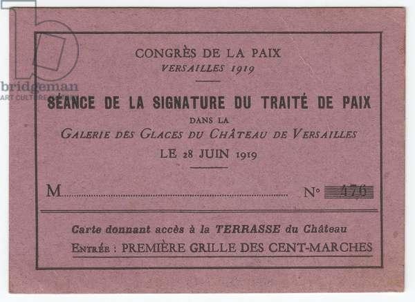1919: Peace Congress - War of 14 -18, Treaty of Versailles