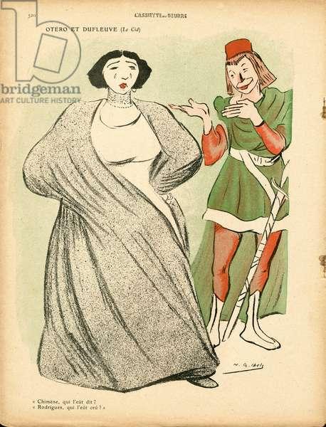 L'Plate au beurre, number 501, Satirique en couleurs, 1910_11_5: Theatre, Cafe concert - Caroline Otero, la belle Otero (1868-1965), Actor, actress Comedian Comedian, Dufleuve - Illustration by H. G. Ibels (1867-1936)