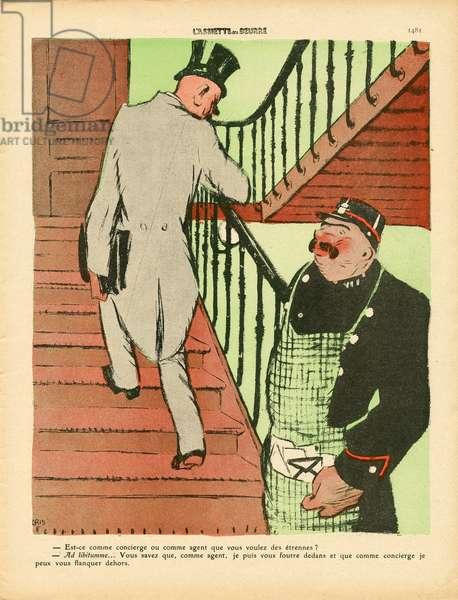 L'Plate au beurre, number 457, Satirique en couleurs, 1910_1_1: Concierge - Illustration by J Gris (1887-1927)