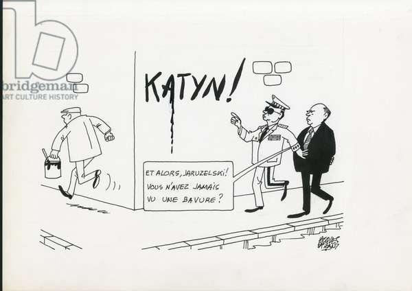 Le Figaro, Satirique en N & B, 1988_7_12: Katin Katyn - Jaruzelski, Gorbachev - Illustration by Jacques Faizant (1918-2006)