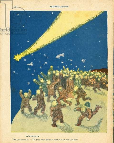 L'Plate au beurre, number 476, Satirique en couleurs, 1910_5_14: Budget Finances, Impots, Comete, Economy, Astronomy - Taxpayer - Illustration by J Gris (1887-1927)