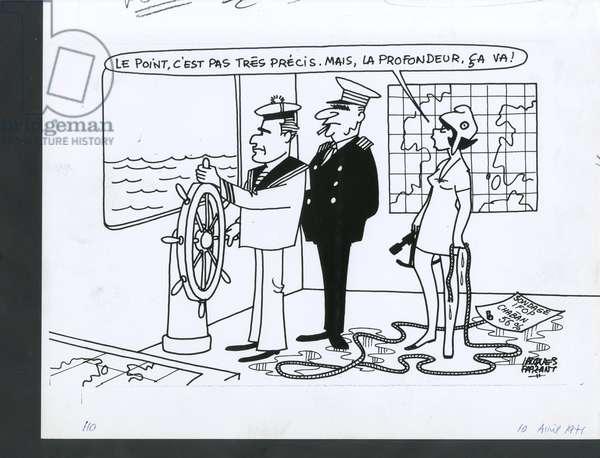 Le Figaro, Satirique en N & B, 1971_4_10: President of the Republic, Maritime Marine Marine Balneaire, Reproduction - Marianne, Pompidou Georges, Chaban Delmas Jacques - Illustration by Jacques Faizant (1918-2006)