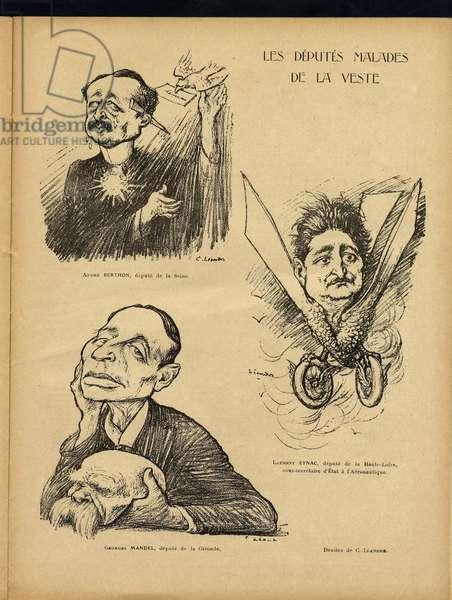 Le Lire, Satirique en Colours, 1924_3_15: Les deputes malades de la jacket - Depute, Mandel Georges (1885-1944), Berthon Andre (1882-1968), Eynac Laurent (1886-1970) Illustration by Charles Leandre (1862-1934)