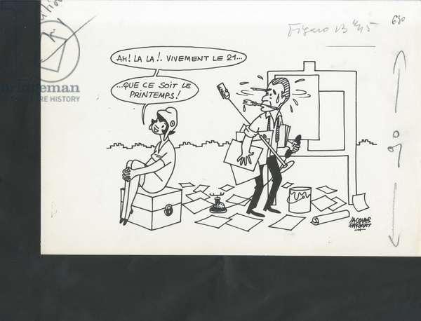 Le Figaro, Satirique en N & B, 1971_3_12: Elections, Mairie - Chaban Delmas Jacques - Illustration by Jacques Faizant (1918-2006)