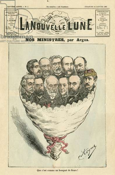 Illustration of Argus for the Cover of La Nouvelle Lune, 1886-1-24 - Our ministers - President of the Republic, Government - Boulanger Georges (1837-1891), Carnot Sadi (1837-1894), Goblet Rene (1828-1905), Freycinet Charles de (1828-1923), Lockroy Edouard (1838-1913), Jules Develle (1845-1913) 19)