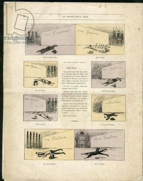 "Illustration by Louis Alexandre Gosset de Guines dit Gill (1840-1885) in """" Gill-Revue"""", 1868 - Art, Painting salons, Caricature salons - Gerome Jean-Leon"