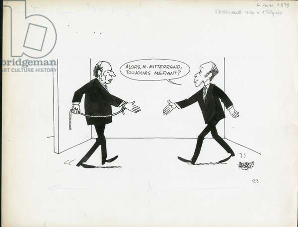 Le Figaro, Satirique en N & B, 1979_5_4: President of the Republic, Elysee - Giscard d'Estaing Valery, Mitterrand Francois - Illustration by Jacques Faizant (1918-2006)