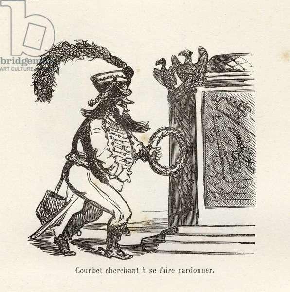 Parisian Chronicle (Cham), 1872 - Illustration of Cham (1819-1879): Courbet Seeking Forgiveness - Municipality of Paris 1871 - Courbet Gustave