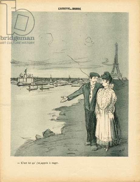 L'Plate au beurre, number 439, Satirique en couleurs, 1909_8_28: Paris, Eiffel Tower, Love, Swimming Bathing, Seine (river) - Illustration by Ricardo Flores (1878-1918)