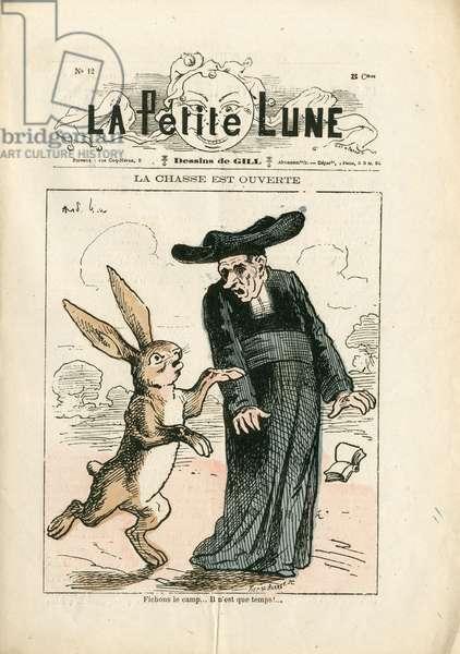 La Petite Lune, number 12, 1878_9_1 - Illustration by Louis Alexandre Gosset de Guines dit Gill (1840-1885): The hunt is open - Anticlericalism - Laicisation Laicite Laiques Lois - Rabbit, Jesuites - Animalisation