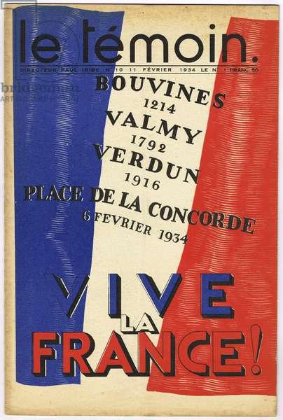 The Temoin, Satirical in Colors, 1934_2_11: Tricolor Flag, Patriotism, Verdun, Bouvines, Valmy