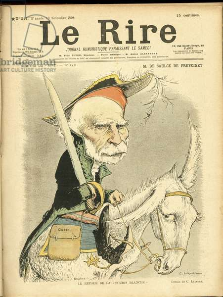 Illustration of Charles Leandre (1862-1934) in Le Lire, 1898-11-19 - The Return of the White Mouse - Freycinet Charles de, Antonelli (Cardinal)