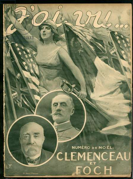 I Seen, 1918-12 - War of 14 -18, Victory, Allies, Flags, Spees - Clemenceau George, Marianne, Foch Ferdinand (1851-1929)